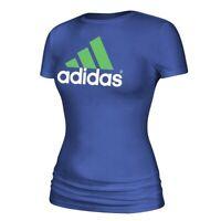 Adidas Women's Blue Adi EQT Chest Logo Short Sleeve T-Shirt