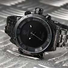 SHARK Luxury Men's LED Digital Date Day Stainless Steel Quartz Sport Watch+Box