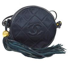 Authentic CHANEL Quilted CC Fringe Cross Body Shoulder Bag Navy Satin YG02090d