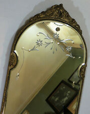 Antique Art Deco Etched Mirror w/ Beveled Edge