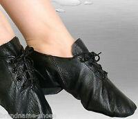 WOMENS GIRLS BLACK LEATHER JAZZ DANCE LADIES KIDS LACE UP SPLIT SOLE BOOTS SHOES