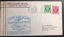 1939 London England First Flight Airmail Cover Ffc To New York Usa Transatlantic