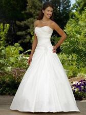 Hot New White/Ivory Taffeta Wedding Dress Bridal Gown Size:6 8 10 12 14 16 18 ++