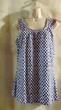 MERONA~ Stretch Knit~Scoop Neck~Blue & White~ Sleeveless Tank Top~M~NEW WITH TAG