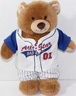 Build Bear Workshop BROWN TEDDY BEAR WITH BASEBALL UNIFORM Stuffed Plush Animal