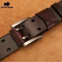 Men's Genuine Leather Belt Vintage Jeans Belt Strap Double Pin Buckle Designer