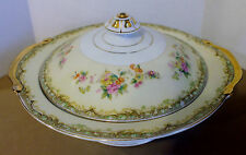 ESCO CHINA  Japan  Tan Green Border Floral Spray  Lidded  Serving Bowl 9 3/8""