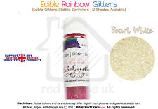 Rainbow Glitter | 100 % Edible | Cake Decorating Craft | 7 Grams | Pearl White