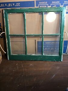 "Antique Vintage Architectural  Salvage Window with Glass 24 3/4"" by 27 3/4"""
