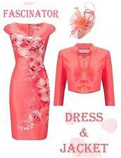 20 Jacques Vert Vibrant Coral Floral Dress Jacket Fascinator Mother of Bride