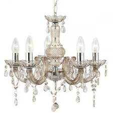 SEARCHLIGHT MARIE THERESE MINK CEILING CHANDELIER IN CHROME 1455-5MI