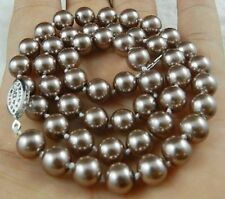 """Shell Pearl Necklace 18"""" Aaa+ 10mm Silver Champagne South Sea"""