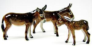 Hand Painted Miniature Set/3 Brown Donkey figurine
