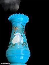 "Antique Blue Bristol Glass Ruffled Vase Decoration 10"" Tall"