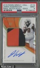 2018 Immaculate Collegiate Gold James Washington RPA RC Patch AUTO 23/25 PSA 9