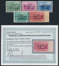 Besetzung Montenegro Aufdruckmarken 1943** Michel 10-14 Befund geprüft (S15099)