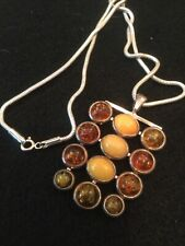 Vintage .925 Sterling Silver Chain and Retro Amber Pendant