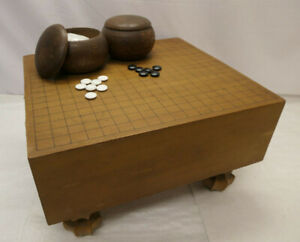 Vintage Japanese Wooden GO BOARD GAME with STONES Strategy Goban Go-Ishi #150