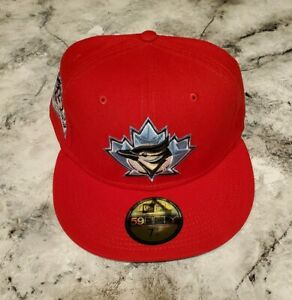 Exclusive Fitted Toronto Blue Jays Scarlet w/Icy Blue Brim ~ 7 1/4 ~ 25th Patch