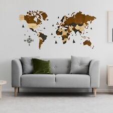 """3D Wooden Wall World Map M sz(43"""" x 24"""") with Country Names Brown+Dark Grey"""