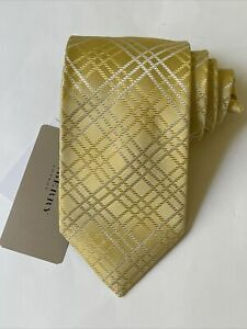 """NEW Burberry Yellow Silver Plaid Mans 100% Silk Tie Authentic Italy 3.5"""" 0350351"""