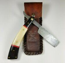 BNIB Damascus Steel Shaving Straight Razor Blade Handmade Buffalo Horn Handle