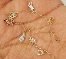 """14K Yellow White Rose Gold Luck Evil Eye 13 Chain Bracelet Anklet 7 + 1"""" 2 grams"""