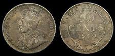 1919 Newfoundland Silver Fifty 50 Cent Piece King George V F-12