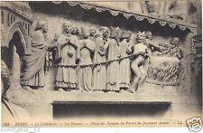51 - cpsm - La cathédrale de REIMS - Les damnés - Détail du Tympan du portail