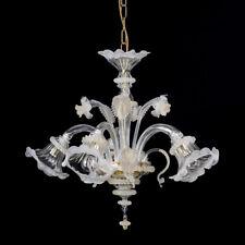 Helen lampadario in vetro di murano 5 luci cristallo oro bianco mignon
