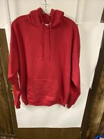Hanes Men's Pullover Ecosmart Fleece Hooded Sweatshirt, Red, Large