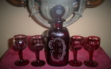 ANTIQUE EGERMANN BOHEMIAN GLASS RUBY RED ETCHED GLASS WINE DECANTER w/4 CORDIALS