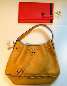 Pair HANDBAG REPUBLIC PURSES Handbags BUCKET Drawstring & CLUTCH Gold & Orange