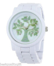 NEW-SPROUT GREEN TREE THEME MOP DIAL WHITE CORN SWAROVSKI WATCH-ST5020MPWT