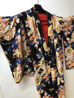 """Japanese kimono,SILK,IRO-UCHIKAKE"""" Women' Robe Pink, Gold, Vermilion, Flowers."""
