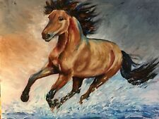 LARGE ORIGINAL Acrylic TEXTURE Painting Wild Horse Modern Equine  22X28 ~Merrie