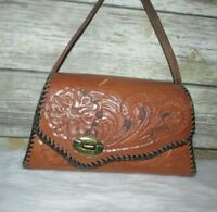 Brown Leather Floral Embossed Hand Tooled Mexican Purse Hand Bag Tote