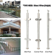 80/97cm Stainless Steel Stair Balustrade Railing Post Grade Glass Clamps Fencing