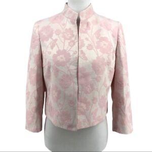 Kasper Pink White Jacquard Open Front Blazer Jacket sz 6