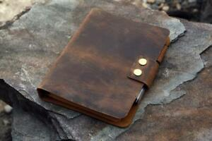 Rustic A5 leather ring binder notebook cover full grain leather A5 refill diary