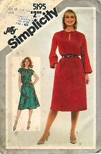 Vintage 1980 Simplicity Pattern # 5195 Misses' Pullover Dress Size 12