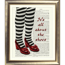 PRINT ON ORIGINAL ANTIQUE BOOK PAGE Vintage Wizard of Oz Dictionary Red Shoes