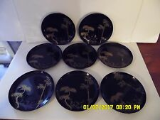 VINTAGE JAPANESE Black LACQUER Plates and Rice Bowls Set of 16 Hard to Find VGC