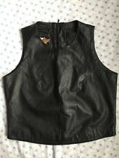 HARLEY DAVIDSON WOMENS LG Wide Black Leather Halter Top Zipper Back Lined EUC