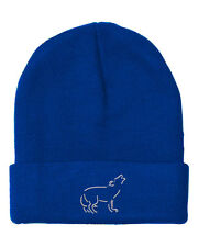 Wolf  Embroidery Embroidered Beanie Skully Hat Cap