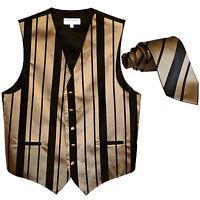 New formal men's tuxedo vest waistcoat & necktie vertical stripes black mocca