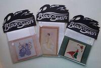 "Lot of 3 Black Swan ""Calla Lily~Iris~Holly"" Angel Cross Stitch Patterns Charts"