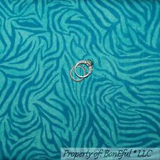 BonEful Fabric Cotton Quilt VTG Blue Aqua Zebra Skin Print Stripe Baby Boy SCRAP