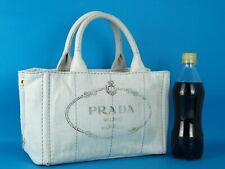 Authentic PRADA Milano Canapa White Cotton Canvas Tote Hand Bag Purse Used