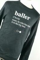 Black & White Black Graphic Cotton Mens Sweatshirt Size M